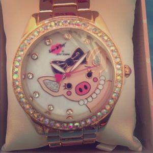 Betsy Johnson piggy watch with rhinestones (new)